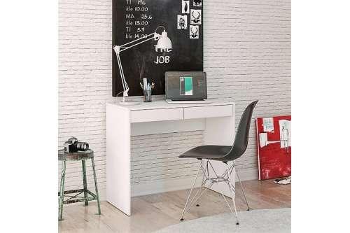 Mesa de escritório Tijuca 90cm 2 gavetas Branco Politorno