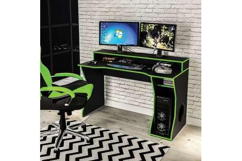 Mesa gamer Fremont para 2 monitores Preto/Verde Politorno