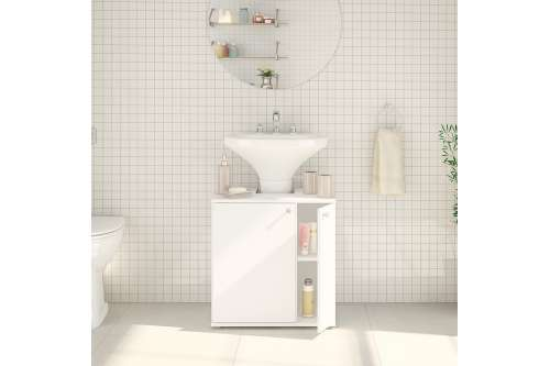 Balcão de Pia para Banheiro Branco  2 portas Politorno