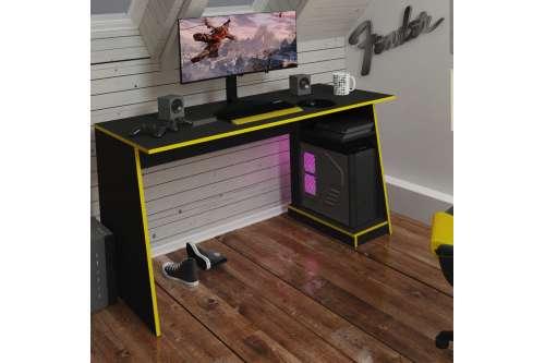 Mesa Gamer Tank Preto e Amarelo Zaile emobilia