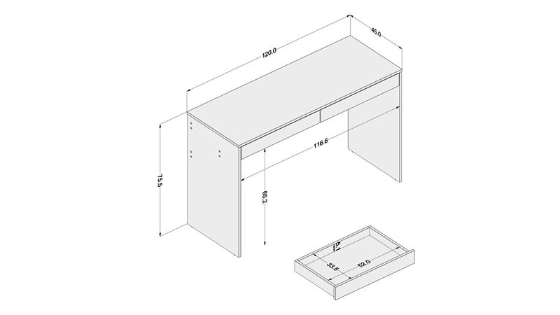 Mesa com gaveta lind ia carvalho claro preto politorno for Medidas estandar de escritorios de oficina